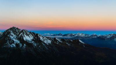 Mountain range, Glacier mountains, Snow covered, Peak, Aerial view, Sunrise, Landscape, Clear sky, Scenic, 5K