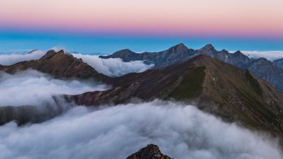 Mountain range, Sunrise, Mountain Peaks, Davos, Switzerland, White Clouds, Aerial view, Beautiful, 5K