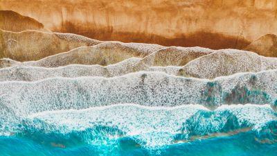 Canary Islands, Spain, Aerial view, Ocean, Sea waves, Beach, Landscape, Drone photo
