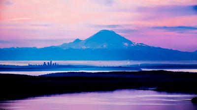 Mount Rainier, Washington State, Seattle, Mountain Peak, Purple sky, Fog, Landscape, Sunrise, Silhouette