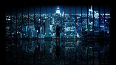 New York City, Cityscape, City lights, Standing, Man, Reflection, Pattern, Skyscrapers, Night time