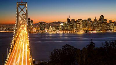 Oakland Bay Bridge, San Francisco, Cityscape, City lights, Landmark, California, Long exposure, Dusk, Body of Water, Clear sky, Skyscrapers, City Skyline