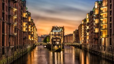 Hamburg architecture, Germany, City lights, Sunset, Long exposure, Body of Water, Reflection, Warehouse district, Castle