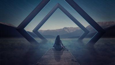 Alone, Meditation, Spiritual, Landscape, Evening, Surreal