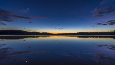 Narrabeen Lake, Sydney, Australia, Landscape, Long exposure, Reflection, Sunrise, Dawn, Body of Water, Clouds, 5K
