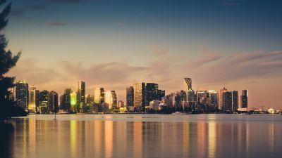 Miami Skyline, Sunset, Cityscape, Florida, City lights, Evening sky, Body of Water, Skyscrapers