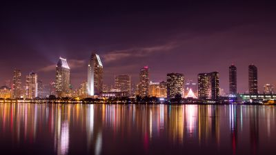 San Diego City, Skyline, Cityscape, City lights, Night time, Body of Water, Reflection, Long exposure, Skyscrapers, California, Purple sky