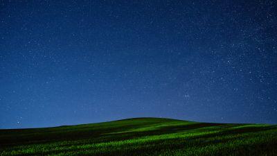Palouse region, Washington State, Green Meadow, Night time, Starry sky, Landscape, Long exposure, Scenery, Grass field