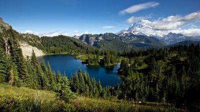 Mount Rainier, Eunice Lake, Landscape, Blue Sky, Glacier mountains, Snow covered, Green Trees, Clear sky