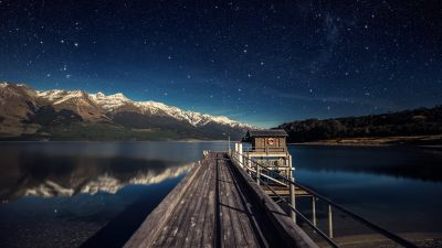 Lake Wakatipu, New Zealand, Mountain range, Snow covered, Reflection, Glacier mountains, Wooden House, Pier, Starry sky, Landscape, Scenery