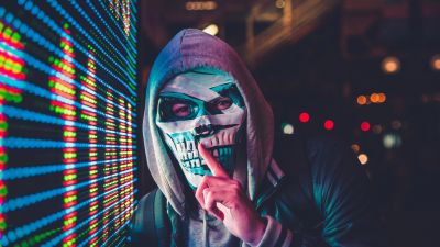 Mask, Hoodie, Person, Scary, LED lighting, 5K