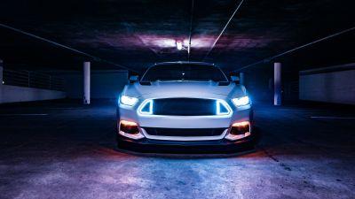 2016 Ford Mustang GT, White cars, Sports cars, Custom tuning, Basement, Headlights, 5K