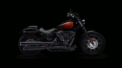 Harley-Davidson Street Bob 114, Black background, 2021, 5K, 8K