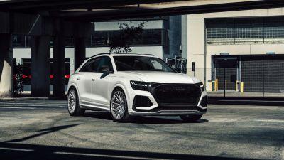 Audi RS Q8, White cars, Downtown, Miami, 5K, 8K