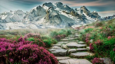 Mountains, Path, Hill, Spring, Aesthetic, Landscape, Scenery, Stone staircase, Girly, 5K
