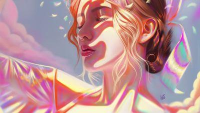 Girl, Portrait, Beautiful, Woman, Girly, Pink, Colorful, Vivid, Illustration, Dream, Paint
