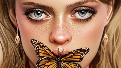 Beautiful girl, Butterfly, Portrait, Paint, Illustration, Vivid, Woman
