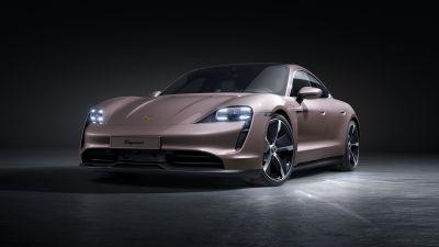 Porsche Taycan, Dark background, 2021, 5K