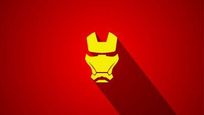 Iron Man, Marvel Superheroes, Red background, Minimal art, 5K
