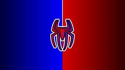 Spider-Man, Logo, Red background, Minimal art, Marvel Superheroes, 5K, 8K, 12K