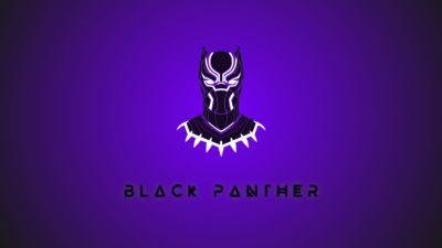 Black Panther, Minimal art, Marvel Superheroes, Purple background, 5K, 8K