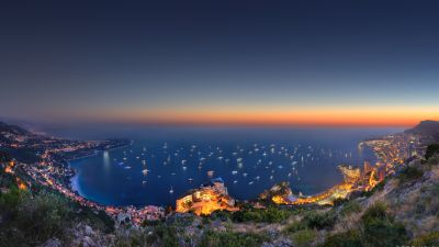 Monaco Yacht Show, City lights, Seascape, Skyline, Horizon, Long exposure, Sunset, Dusk, Aerial view