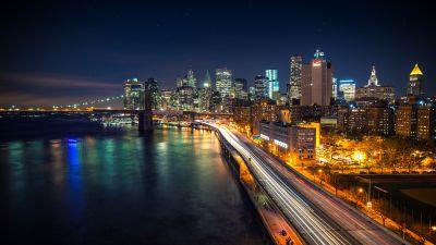 Manhattan Skyline, Cityscape, Brooklyn Bridge, City lights, New York, Light trails, Long exposure, Stars, Night sky, Skyscrapers, Body of Water