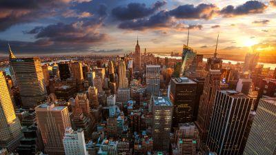 New York City, Aerial View, Cityscape, Skyline, Sunset, Landmark, Skyscrapers, Cloudy Sky, Sunlight, Evening sky