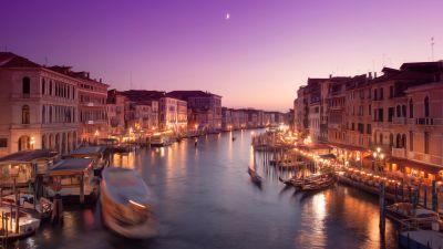 Venice city, Cityscape, City lights, Purple sky, Moon, Boats, Sunset, Body of Water, Long exposure