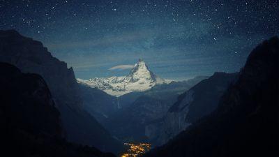 Matterhorn, Lauterbrunnen valley, Mountain Peak, Night time, Starry sky, Glacier mountains, Snow covered, Landscape, Landmark, Switzerland, Tourist attraction