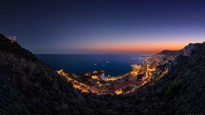 Monaco City, Aerial view, Night time, Seascape, Cityscape, City lights, Horizon, Clear sky