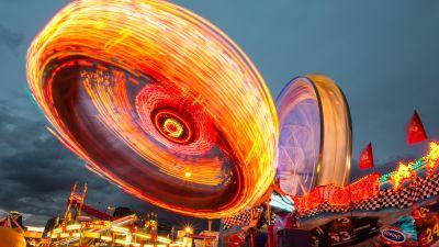 Calgary Stampede, Alberta, Canada, Long exposure, Carnival, Spinning, Circular, Outdoor, Cloudy Sky