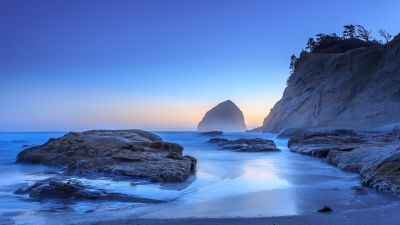 Haystack Rock, Sunset, Oregon, Rocky coast, Cliff, Seascape, Horizon, Landscape, Cannon Beach, Long exposure, Clear sky