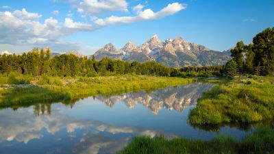 Teton Range, Rocky Mountains, Wyoming, USA, Mirror Lake, Reflection, Beaver ponds, Clouds, Blue Sky, Clear sky, Green Trees, Landscape, Scenery