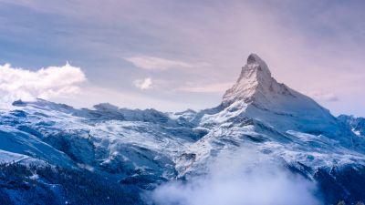 Matterhorn, Switzerland, Italy, Snow covered, Fog, Landscape, Mountain Peak, Winter, Sunrise, Early Morning