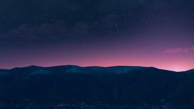Silhouette, Mountain, Starry sky, Night time, Purple sky, Landscape, Dusk