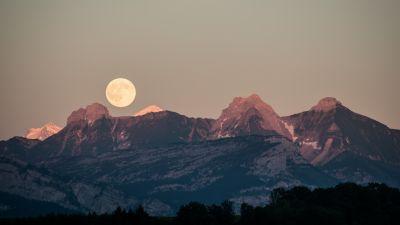 Mountains, Moon, Scenic, France, 5K, 8K