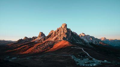 Giau Pass, Mountain pass, Italy, Dolomites, Landscape, Mountain Peak, Blue Sky, 5K