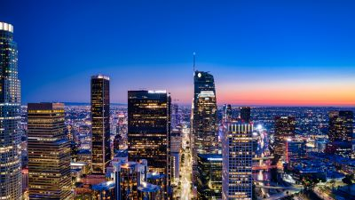 Los Angeles City, City Skyline, Cityscape, Aerial view, Blue hour, Horizon, Clear Sky, City lights, Skyscrapers, California, 5K