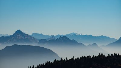 Mountains, Foggy, Morning, Serene, Clear sky, French Prealps, France, 5K