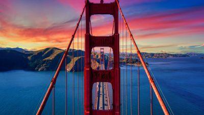 Golden Gate Bridge, California, USA, Sunset, Colorful Sky, Suspension bridge, Bay Area, Famous Place, Landmark, Aesthetic, 5K