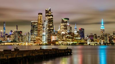 New York City, Skyline, Sunset, Cityscape, City lights, Waterfront, Evening, Dusk, Skyscrapers, Reflection