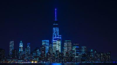 New York City, City Skyline, Cityscape, City lights, Dark background, Night time, Body of Water, Reflection, Skyscrapers, 5K, 8K