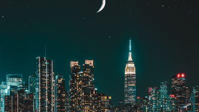 New York City, Skyscrapers, Night photography, Cityscape, Night, City lights