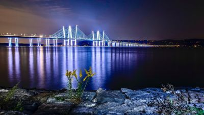 Cable-stayed bridge, Body of Water, Night time, Reflection, Sunset, Dawn, Landscape, River, 5K