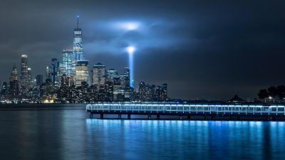 New York City, City Skyline, Landscape, Night time, City lights, Cityscape, Body of Water, Reflection, Light beam, Dock, Skyscrapers, Spotlight, 5K