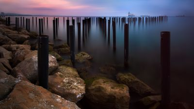Rocky coast, Sunrise, Early Morning, Seascape, Long exposure, Horizon, Pattern, Boats, Body of Water