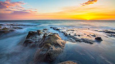 Rocky coast, Seascape, Sunset Orange, Horizon, Sunset, Clear sky, Long exposure, Ocean blue