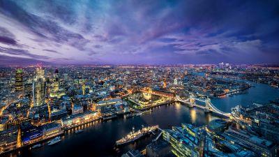 London City, Cityscape, City lights, Dusk, Purple sky, Horizon, Skyscrapers, Aerial view, England, Landscape, Clouds, Sunset
