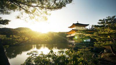 Kinkakuji Temple, Rokuon-ji, Buddhist temple, Kyoto, Japan, Sunset, Landmark, Lake, Ancient architecture, Tourist attraction, Golden temple, Green Trees, Landscape